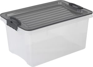 Compact Aufbewahrungsbox 4.5l mit Deckel, Kunststoff (PP) BPA-frei, grau/transparent, A5
