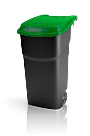 Rotho Pro Atlas Mülltonne 100l mit Deckel und Rollen, Kunststoff (PP) BPA-frei, schwarz/grün