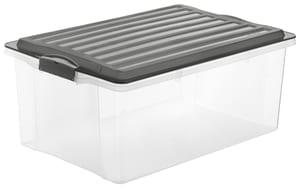 Compact Boîte de rangement 38l avec couvercle, Plastique (PP) sans BPA, anthracite/transparent, A3