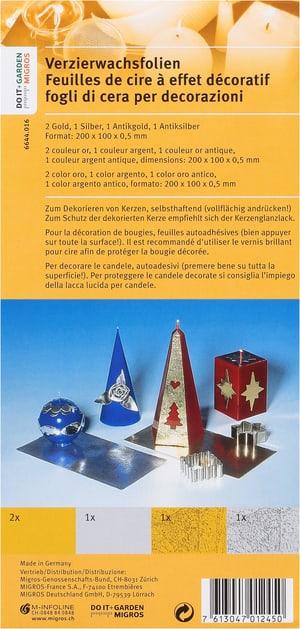 DOIT+GARDEN Verzierwachsfolien Gold/Silber/Antikgold/Antiksilber 5Stk