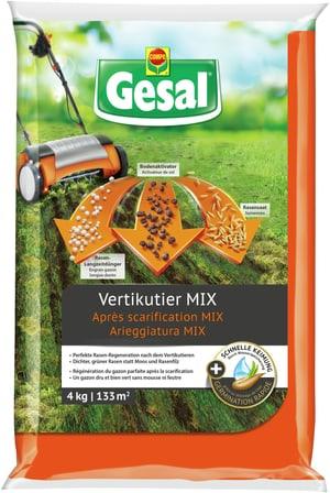 Pour régénérer le gazon après la scarification; un mix prêt à l'emploi composé de semences de gazon, d'engrais gazon et d'activateur de sol, 4 kg