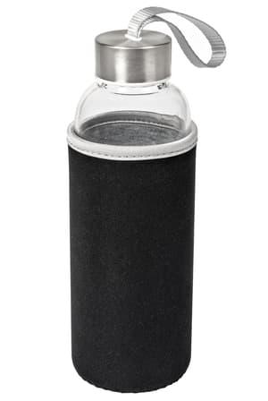 Trinkflasche aus Glas mit Neopren-Mantel