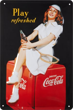 Werbe-Blechschild Coca Cola Play Refreshed