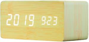 Réveil avec fonction de chargement Qi bambou