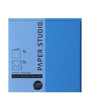 Karten+Umschläge Quadratisch, 2X5Stück, Königsblau