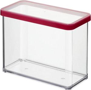 LOFT rechteckige Vorratsdose 2.1l mit Deckel und Dichtung, Kunststoff (SAN) BPA-frei, transparent/rot