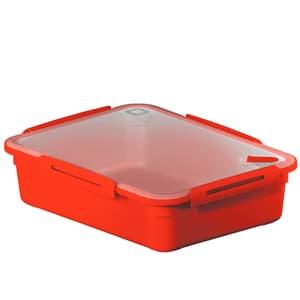 MEMORY Mikrowellendose 3.1l mit Deckel und Ventil, Kunststoff (PP) BPA-frei, rot