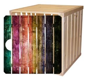 Cassetta in legno A1/2 con porta arcobaleno