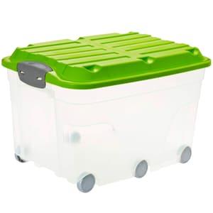 ROLLER6 Scatola da 57l con coperchio e ruote, Plastica (PP) senza BPA, trasparente/verde