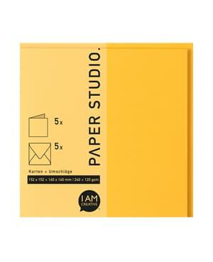 Karten+Umschläge Quadratisch, 2X5Stück, gelb