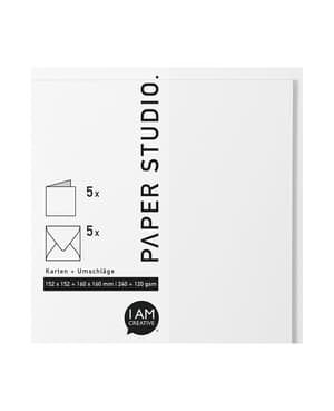 Karten+Umschläge Quadratisch, 2X5Stück, weiss