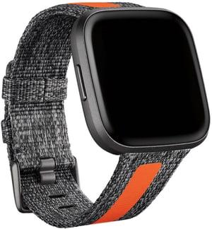 Fitbit Versa 2 Woven Hybrid Band Charbon/Orange Small