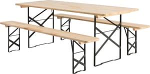 Tavolo e panche in legno, 220 x 80 x 75 cm