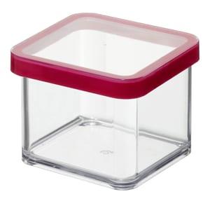 LOFT quadratische Vorratsdose 0.5l mit Deckel und Dichtung, Kunststoff (SAN) BPA-frei, transparent/rot