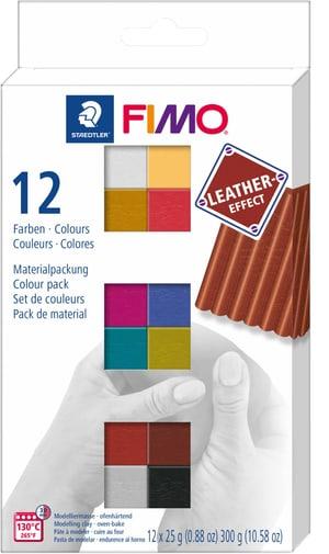 FIMO, effeto pelle, 12 colori x 25 gr.