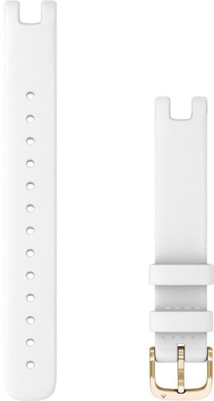 Garmin bracelet 14mm cuir italien blanc avec des parties en or clair