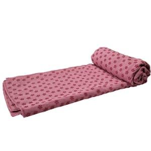 Serviette de yoga rose antidérapante, avec sac