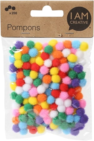 Pompons, ass. 10 mm, 200 pzz.