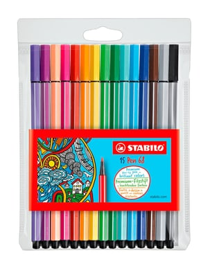 Premium-Fasermaler STABILO® Pen 68, 15 Stifte