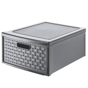 COUNTRY Cassettiera 19,2l con 1 cassetto in rattan, Plastica (PP) senza BPA, antracite