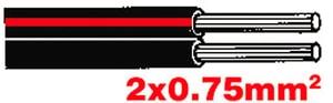 Câble de haut-parleur 2x0.75 noir-rouge, 10m
