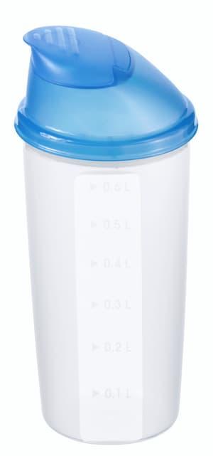 DOMINO Shaker 0.6l mit Deckel und Mixrad, Kunststoff (PP) BPA-frei, transparent/blau