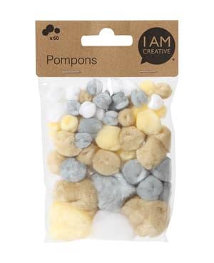 Pompons, pastel/naturel, 60 pcs.