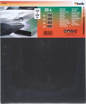 Feuilles de papier abrasif résistantes à l´eau assorties, 20 pcs