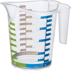 DOMINO Messbecher 1l mit Skala, Kunststoff (PP) BPA-frei, transparent
