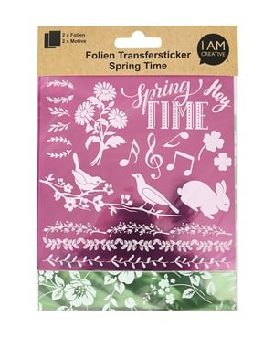 Folien Transfersticker Spring II, pink / grün