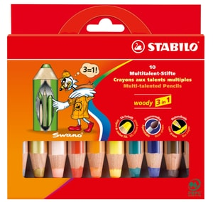 Matita Multitalent STABILO® Woody 3 in 1, 10 matite