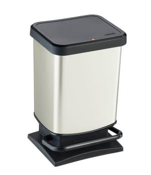PASO poubelle à péda 20 L blanc. met.
