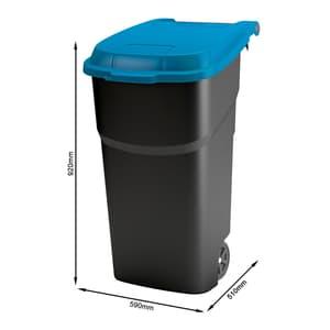 Rotho Pro Atlas Mülltonne 100l mit Deckel und Rollen, Kunststoff (PP) BPA-frei, schwarz/blau