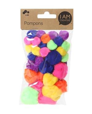 Pompons, neon Mix, 48 pcs.