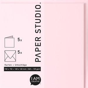 Karten+Umschläge Quadratisch, 2X5Stück, rosa
