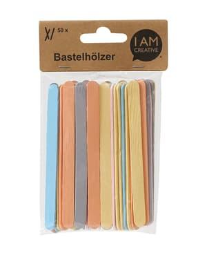 Bastelhölzer pastell 110 x 10 mm, 50 Stk.