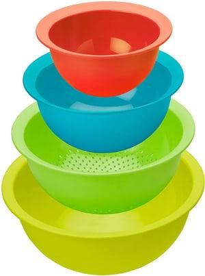 CARUBA Set bestehend aus 3 Schüsseln und 1 Sieb, Kunststoff (PP) BPA-frei, mehrfarbig