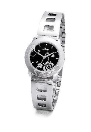 L- s.Oliver BLACK FLOWER noir montre