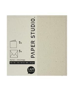 Karten + Umschläge 152 x 152 + 160 x 160 mm, Naturpapier