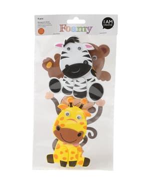 FOAMY, 3D-Sticker Dschungel, 4 Stk
