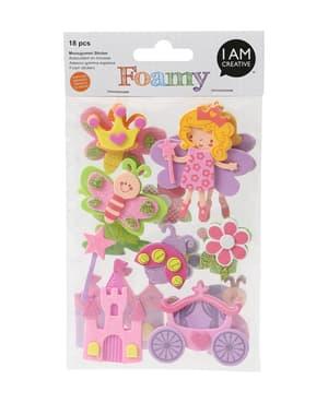 FOAMY, 3D-sticker princesse, 18 pcs