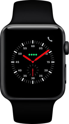 Watch Series 3 GPS + Cellular 42mm Space Grey Aluminium Case Black Sport Band
