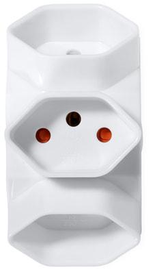 Abzweigstecker 3x - Weiss