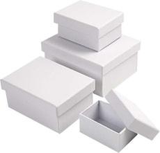 Pappmaché Boxen weiss