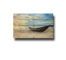 Holzfotowand Boot am Strand