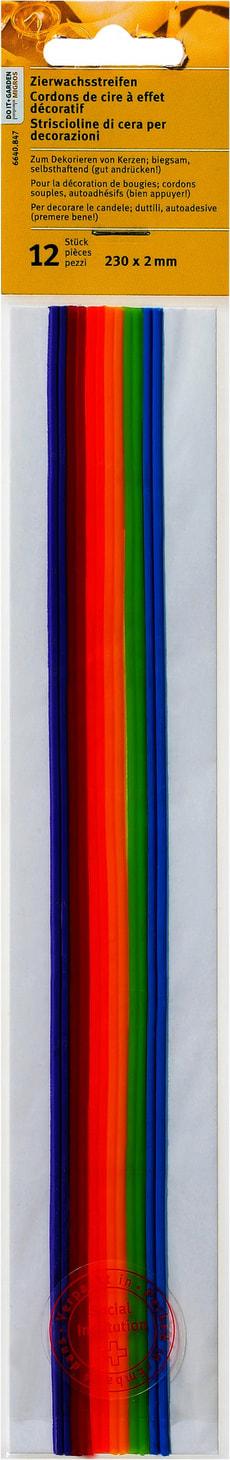 12 Zierwachsstreifen Farb. Assortiert