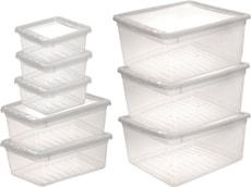 set 8 x clearbox, 3 x 1,7 l, 2 x 5,6 l, 3 x 18 l, transparent