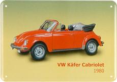Werbe-Blechschild VW Käfer Cabriolet 1980