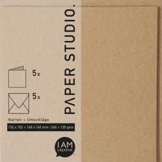 Karten+Umschläge Quadrat. 2 x 5 Stk.Kraft