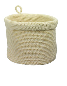 KNITTED CORBEILLE RONDE, CREME Ø19H19CM